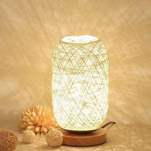 Wood Rattan Twine Ball Table Lamp-Decorative Table Lamp-Beige / China-Khadiza Electricals