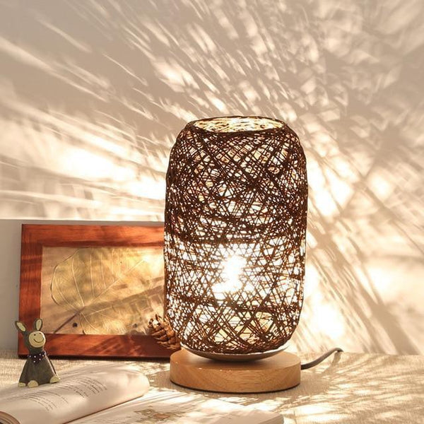 Wood Rattan Twine Ball Table Lamp-Decorative Table Lamp-Brown / China-Khadiza Electricals