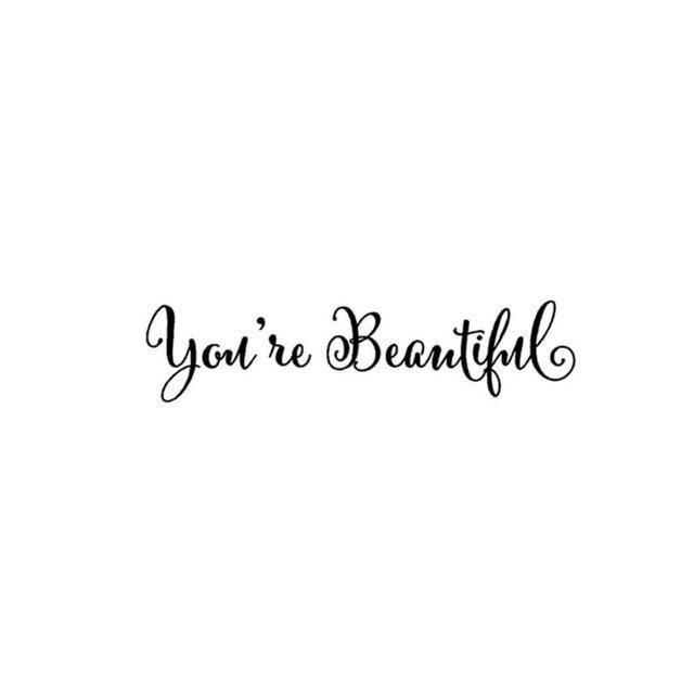 'You Are Beautiful'  - Wall Stickers (Removable)-Non Electric Home Decor-Black / China / 28.5x6.75cm-Khadiza Electricals