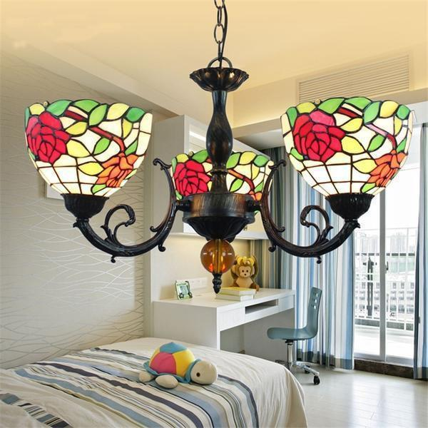 Pastoral Rose Stained Vintage Glass Chandelier-Decorative Chandelier-[variant_title]-Khadiza Electricals