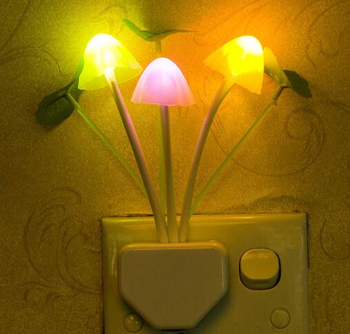 LED Color Changing Auto Control Mushroom Night Light With Sensor