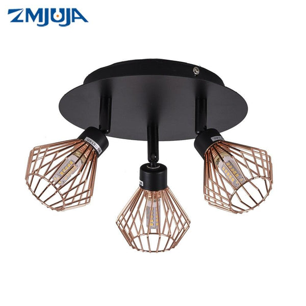 Rotatable & Angle Adjustable Black Ceiling Lamp with Creative Cage