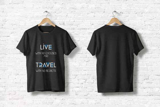 "Offroad T-Shirt ""Live and Travel"" in schwarz"
