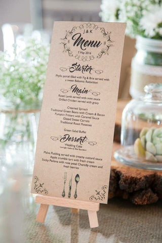 Rustic Stable Wedding Menus