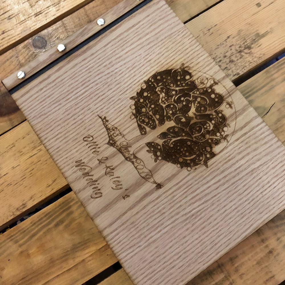Engraved Wooden & Leather Guestbook