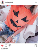 Pumpkin Face Eyelashes Shirt - Halloween Shirts for Women