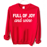 red Christmas sweatshirt full of joy and wine