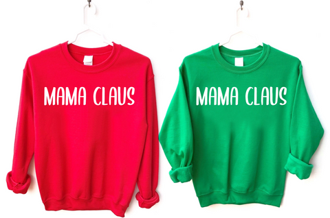 mama claus christmas sweatshirts women red green