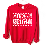 merry and bright red Christmas sweatshirt holiday party