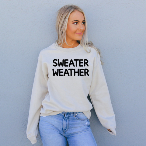 sweater weather cozy womens sweatshirt cream
