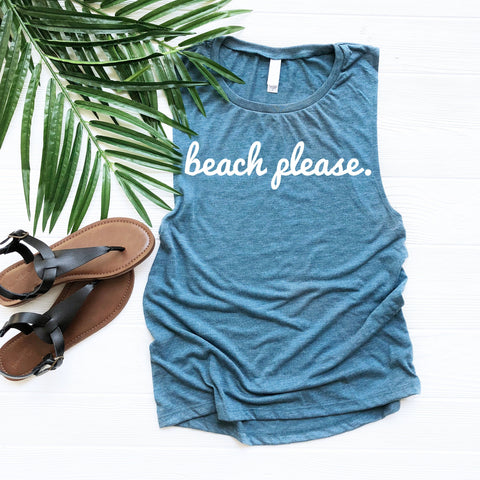 Beach Please Women's Muscle Tank Top