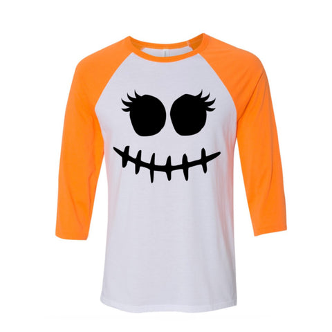 Neon Orange Stitch Face Raglan Halloween Shirt