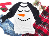 snowman with lashes raglan winter shirts
