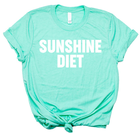 Sunshine Diet - Womens Beach Tshirts- Vacay Shirt for Women