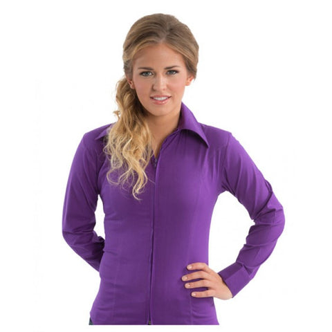 Royal Highness Plus Size Fitted Zip Up Show Shirt