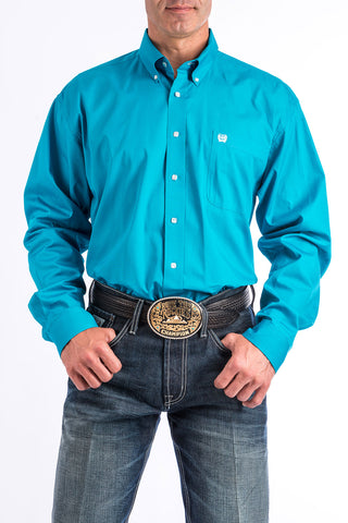 Cinch Mens Solid Turquoise Button Shirt