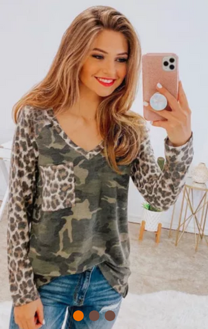 Leopard Camo Splicing Print V Neck Long Sleeve Top