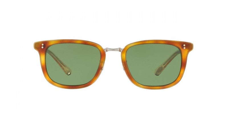Oliver Peoples Kettner in Semi-Matte LBR/Buff/Brushed Silver + Green C Glass