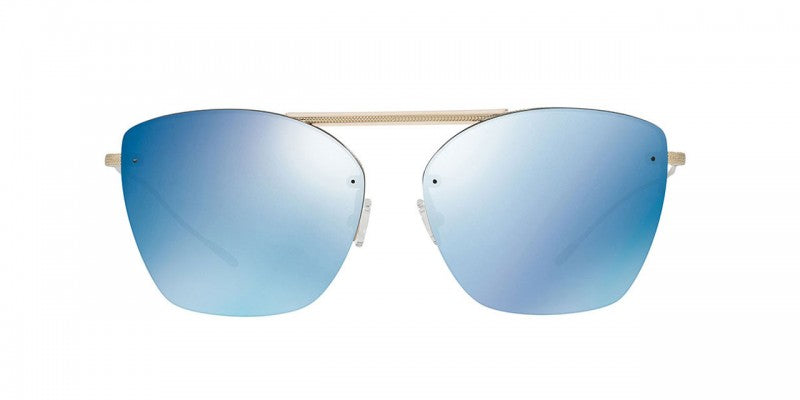 Oliver Peoples Ziane in Brushed Gold + Blue Flash Mirror