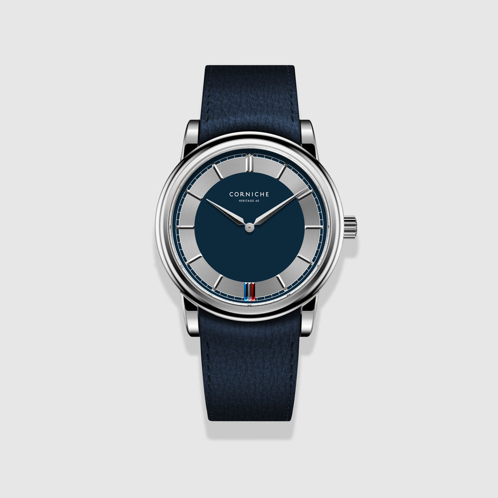 Corniche Watch Men's Heritage 40 C1 In Stainless Steel with Blue Dial