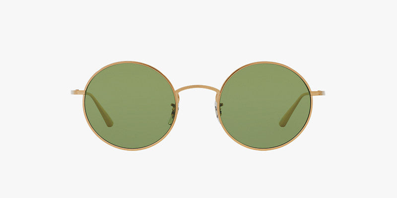 Oliver Peoples After Midnight in Brushed Gold + Green Flat Base Glass