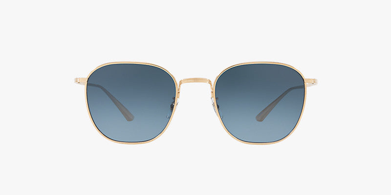 Oliver Peoples The Row Board Meeting 2 in Brushed Gold + Ash Blue Wash  Lens