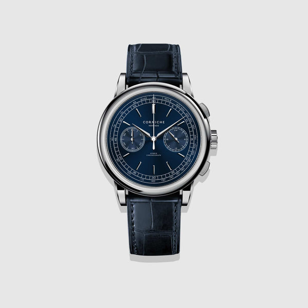 Corniche Watch Men's Heritage Chronograph In Steel with Blue dial