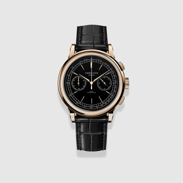 Corniche Watch Men's Heritage Chronograph In Rose Gold with Black dial