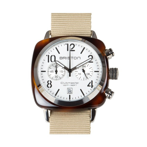 Briston Clubmaster Chrono tortoise shell – white dial