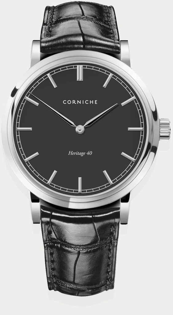 Corniche Watch Men's Heritage in Silver with Black Dial