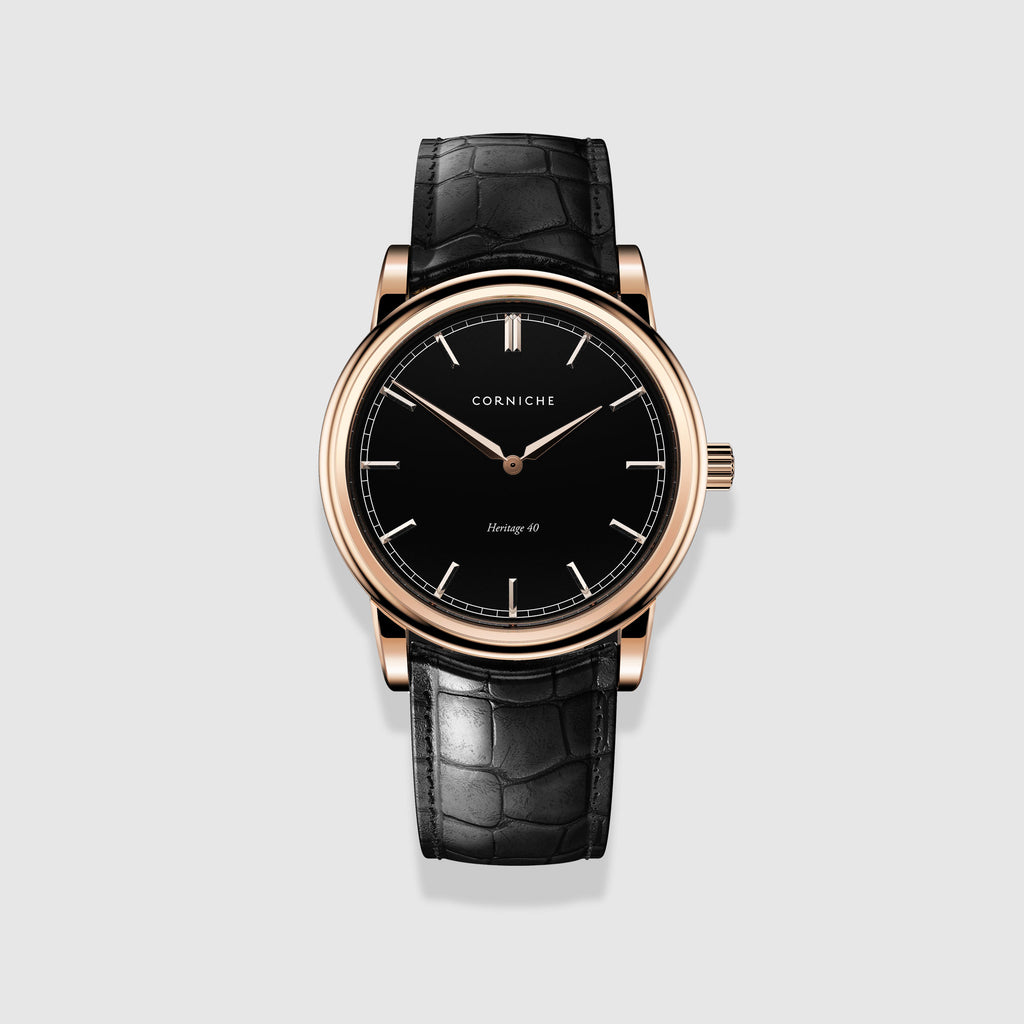 Corniche Watch Men's Heritage 40 in Rose Gold with Black Dial