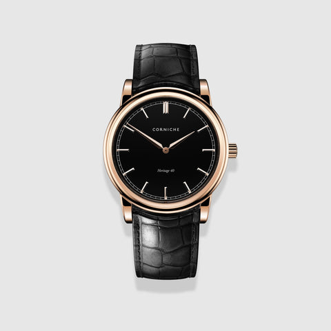 Corniche Watch Men's Heritage in Rose Gold with Black Dial