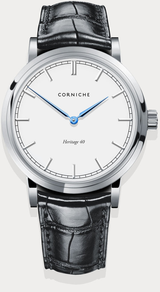 Corniche Watch Men's Heritage in Silver with White Dial
