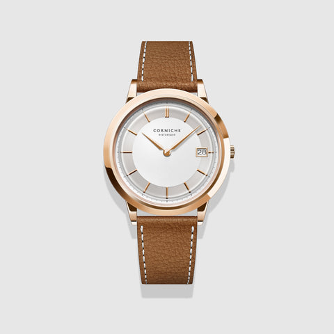 Corniche Watch Men's Historique Rose Gold with White Dial
