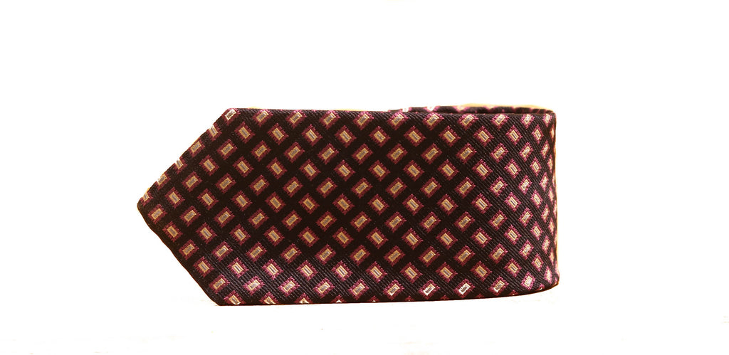 Dion Bi-color Squares Tie in Red