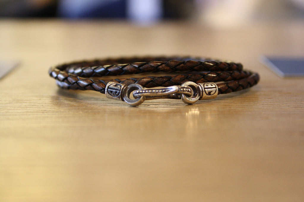 Blood Stone Jewels Triple Wrap Bracelet in Brown