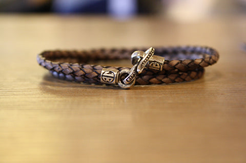 Blood Stone Jewels Triple Wrap Bracelet in Washed Out Tan
