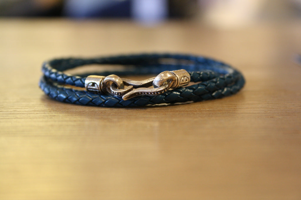 Blood Stone Jewels Triple Wrap Bracelet in Blue