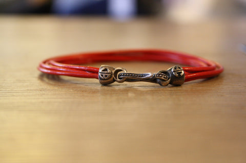 Blood Stone Jewels 6 Strand Leather Bracelet in Red