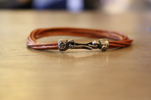 Blood Stone Jewels 6 Strand Leather Bracelet in Tan