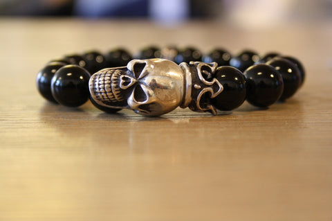 Blood Stone Jewels Black Beaded Bracelet and Big Silver Skull Head