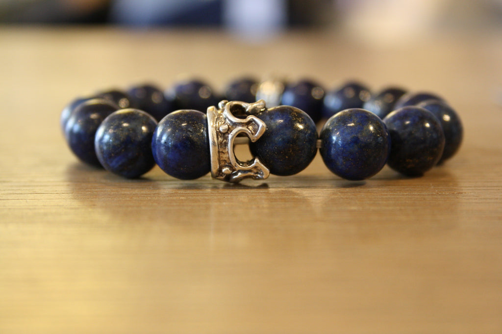 Blood Stone Jewels Lapis Lazuli Beaded Bracelet and Silver Crown