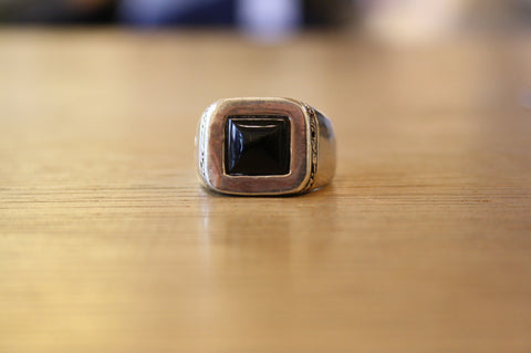 Blood Stone Jewels 925 Silver Classic Ring with Onyx Stone