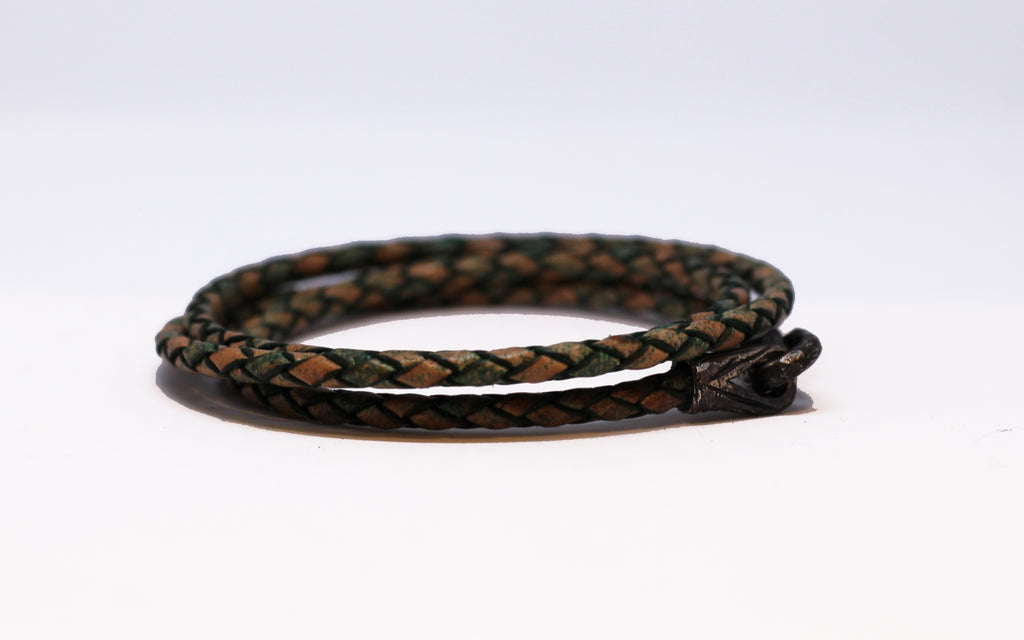 Bloodstone Jewels Ladies Leather Bracelet with 925 Silver Charm