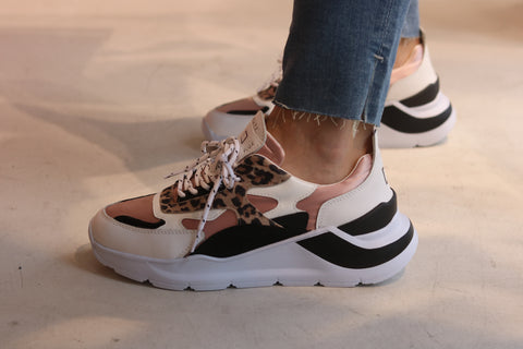 D.A.T.E Ladies Sneakers Satin Leopard - pink sand