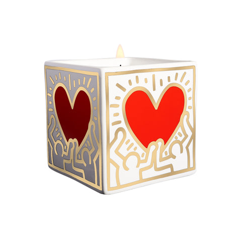 Bougie Keith Haring, Coeur rouge et or