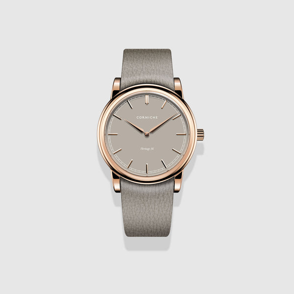 Corniche Watch Womens Heritage 36 Rose Gold with Taupe Dial