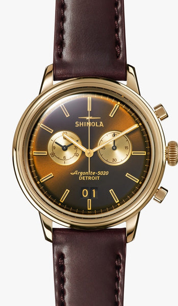 Shinola watch THE BEDROCK CHRONO 42MM in BOURBON SANDBLAST SUNRAY