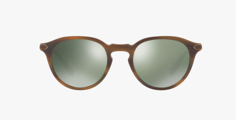 Oliver Peoples Berluti Rue Marbeuf Tailored Fit in Tobacco Bis + Green Mirror Gold Polar Lens