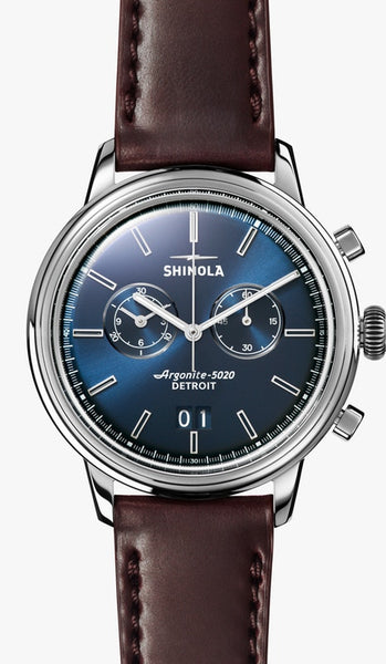 Shinola Montre THE BEDROCK CHRONO 42MM en BLEU